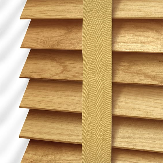 European Oak Amp Honey Wooden Blind With Tapes 50mm Slat