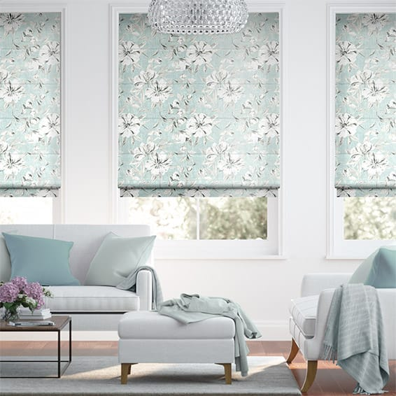 Everly Faux Silk Duck Egg Roman Blind