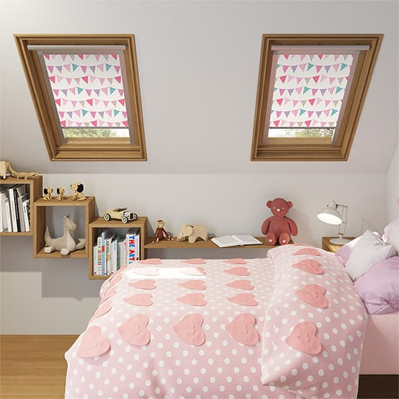 Expressions Bunting Pink Blackout Blind for VELUX ® Windows