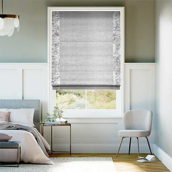 Faux Silk Crush Platinum Roman Blind
