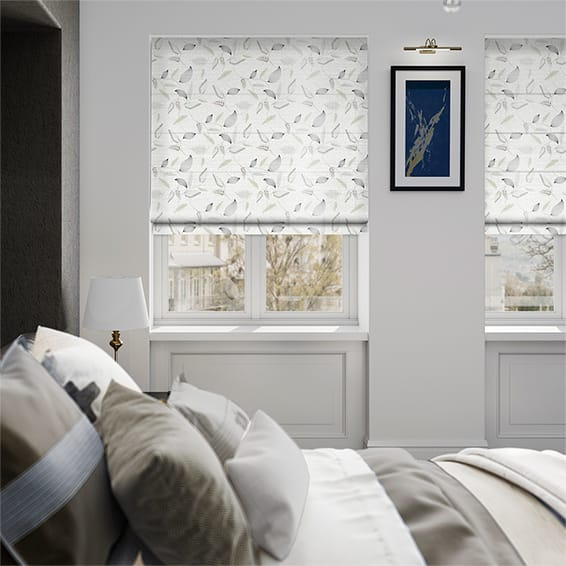 Fern Frost Embroidered White Roman Blind