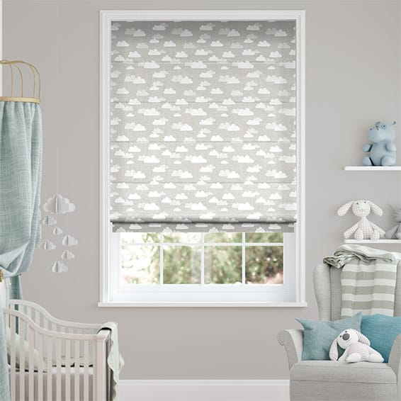 Fluffy Clouds Grey Roman Blind