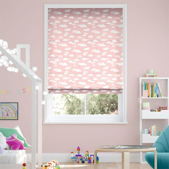 Fluffy Clouds Pink Roman Blind