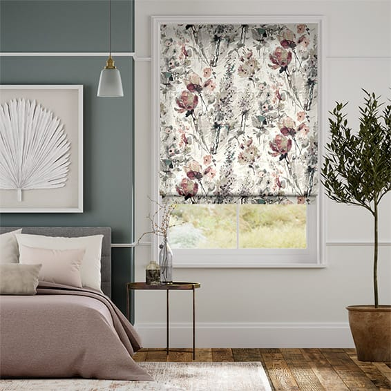Foxglove Linen Rose Blush Roman Blind