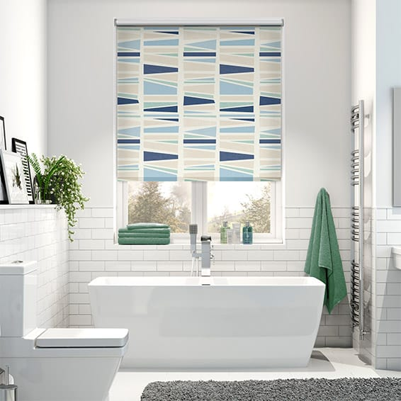 Splash Blackout Geo Medley Britannica Blue Roller Blind