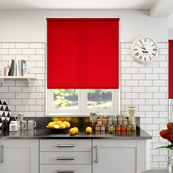 country kitchen roman blinds roller blinds scarlet ruby poppy and cherry shades 6136