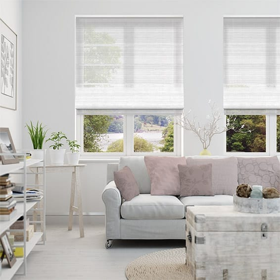 Glace Voile Ice White Roman Blind