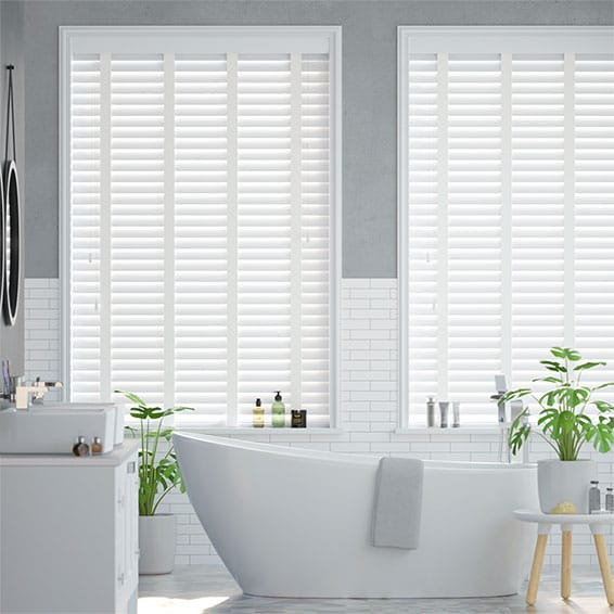 Glacier White & Linen Faux Wood Blind - 50mm Slat