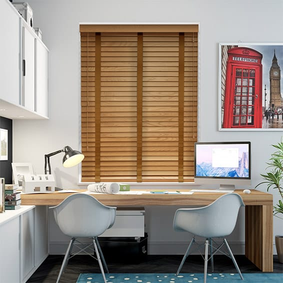 Golden Oak & Pecan Wooden Blind with Tapes - 50mm Slat