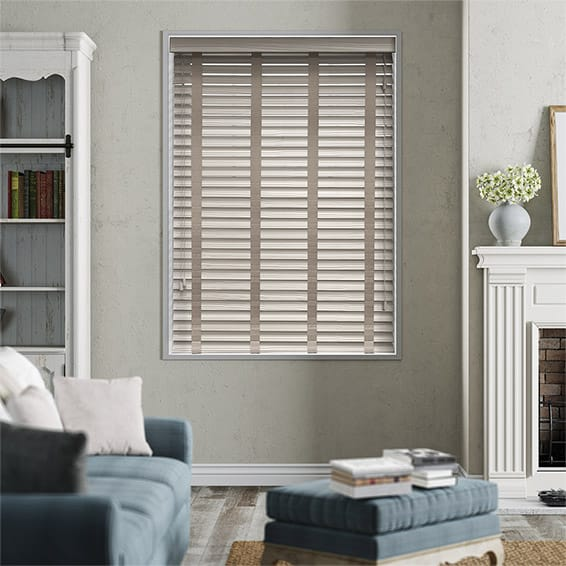 Grey Wash & Latte Faux Wood Blind - 50mm Slat