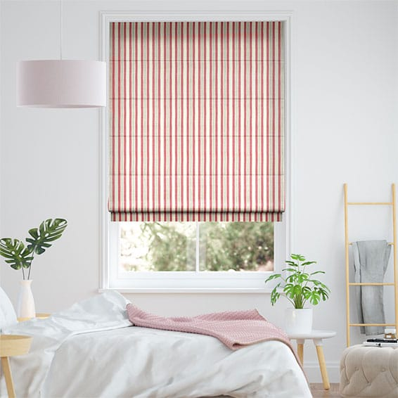 Hand Painted Stripe Rose Pink Roman Blind