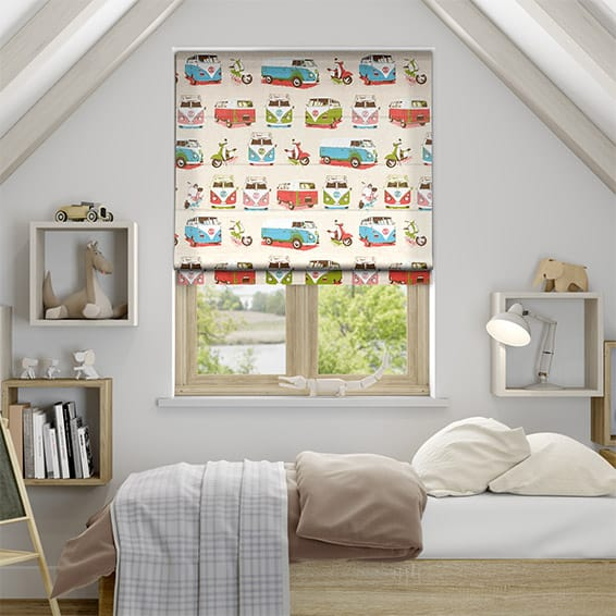 Happy Campers Rainbow Roman Blind