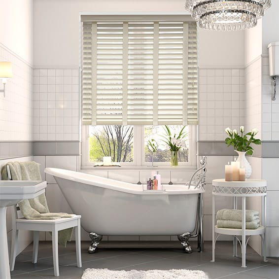 High Gloss Cream & Cream Faux Wood Blind - 50mm Slat