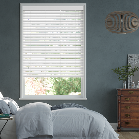 High Gloss Pure White Faux Wood Blind - 50mm Slat
