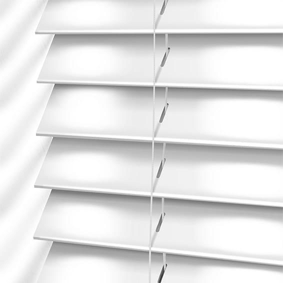 High Gloss Pure White Faux Wood Blind 50mm Slat