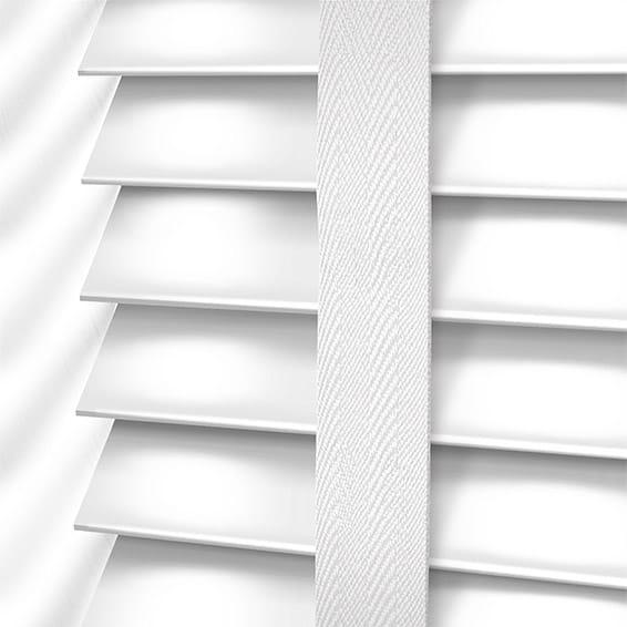 High Gloss Pure White White Faux Wood Blind 50mm Slat
