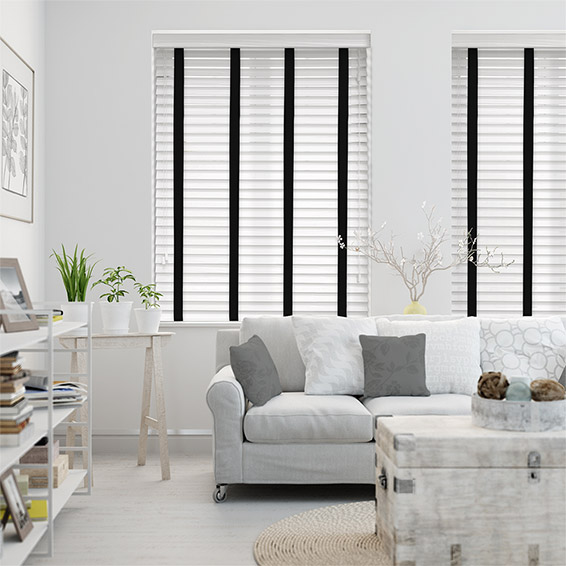 Ice White & Jet Faux Wood Blind - 50mm Slat