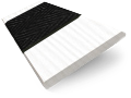 Ice White & Jet Faux Wood Blind - 50mm Slat slat image
