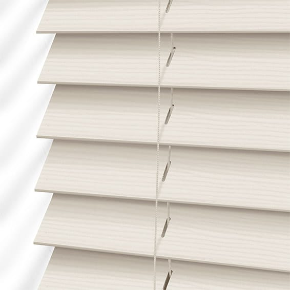 Ivory Lace Faux Wood Blind 50mm Slat