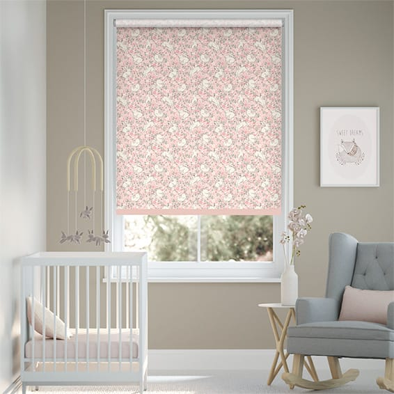 Jumping Bunnies Blush Roller Blind