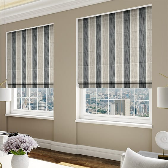 Keats Stripe Charcoal Roman Blind