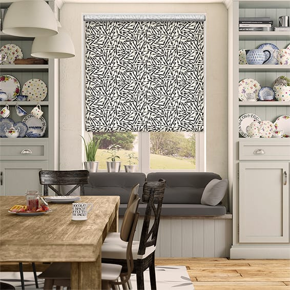 Knives and Forks Black Roller Blind