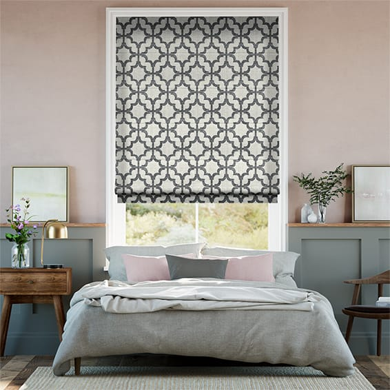 Lattice Charcoal Roman Blind