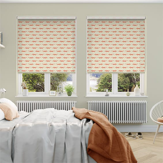 Little Mr Fox Orange Roller Blind