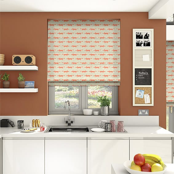 Little Mr Fox Orange Roman Blind