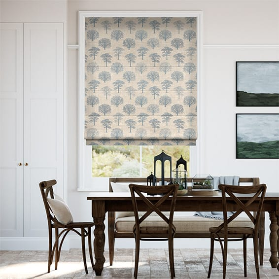 Little Orchard Soft Blue Roman Blind