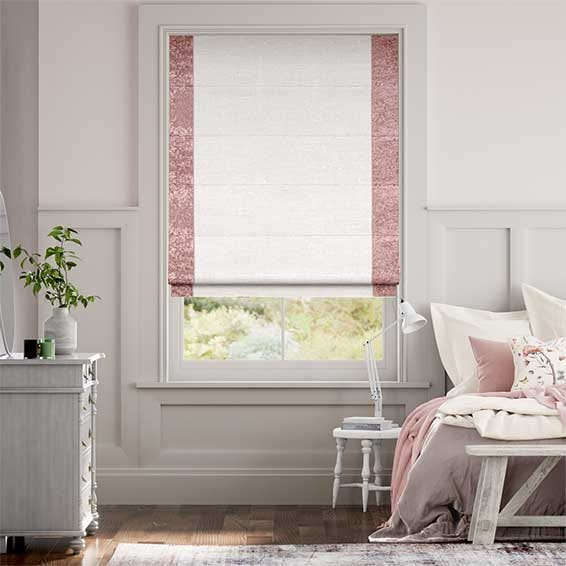 Luxe Faux Silk Crush Rose Roman Blind
