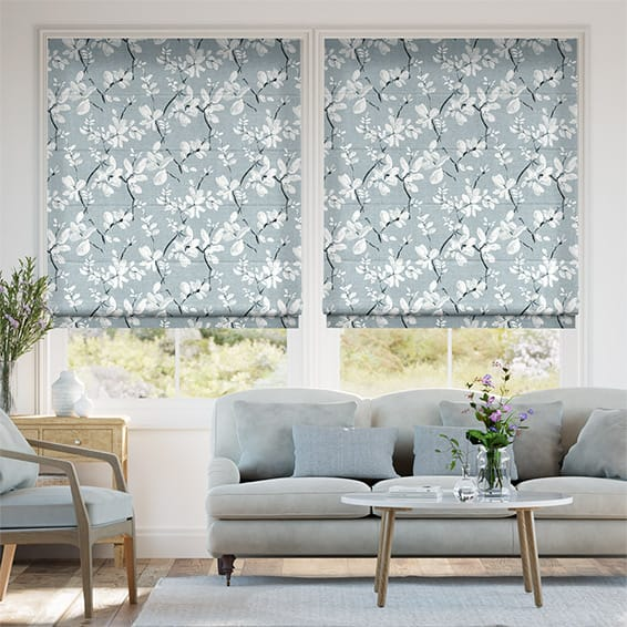 Madelyn Linen Blue Mist Roman Blind