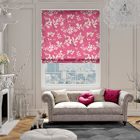 Madelyn Linen Passionate Pink Roman Blind