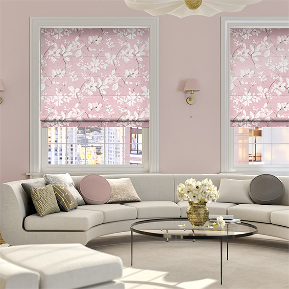 Madelyn Velvet Rose Quartz Roman Blind