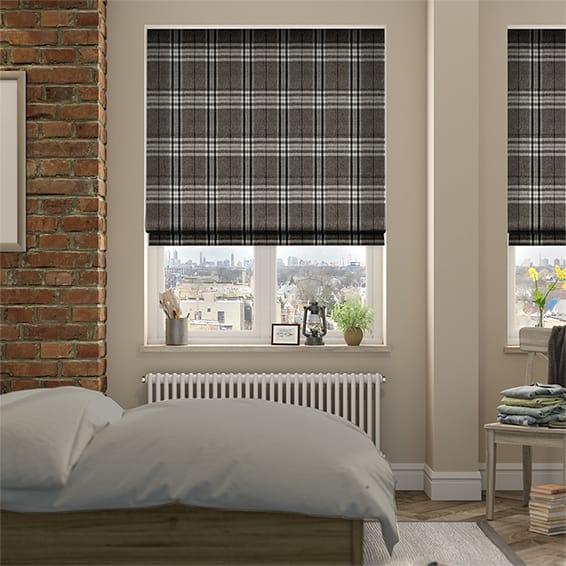 Madras Monochrome Roman Blind