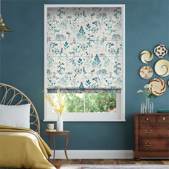 Meadow Teal Roman Blind