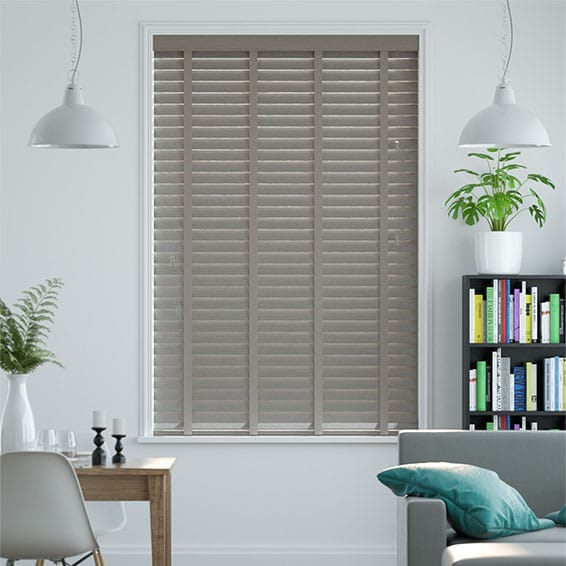 Metropolitan Boulder Grey & Putty Wooden Blind - 50mm Slat