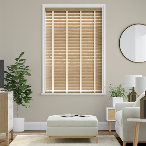Metropolitan Classic Oak & Oatmeal Wooden Blind - 50mm Slat