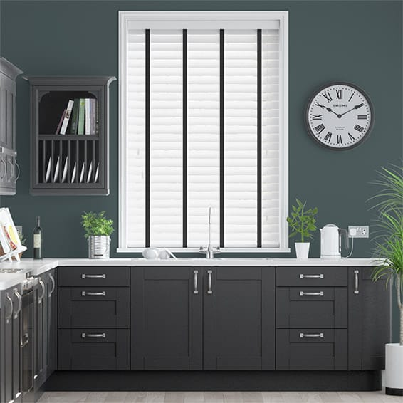 Metropolitan Soft Gloss White & Onyx Wooden Blind - 50mm Slat