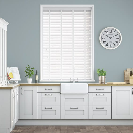 Metropolitan Soft Gloss White & Snow Wooden Blind - 50mm Slat