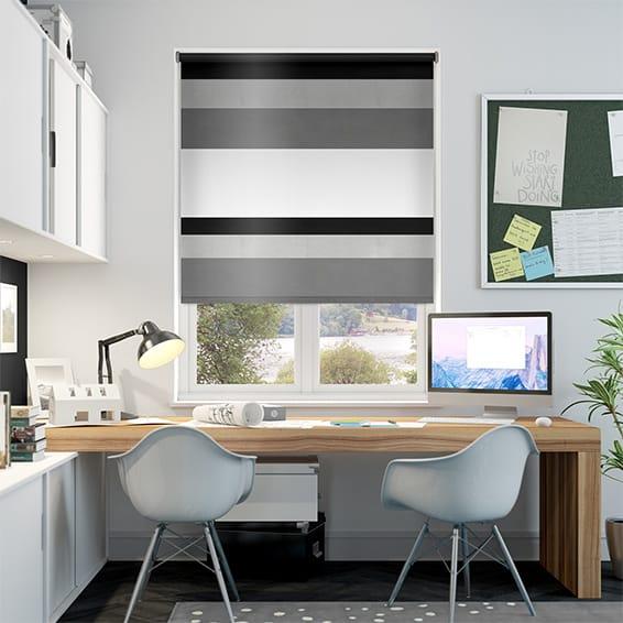 black patterned roller blinds black white silver. Black Bedroom Furniture Sets. Home Design Ideas
