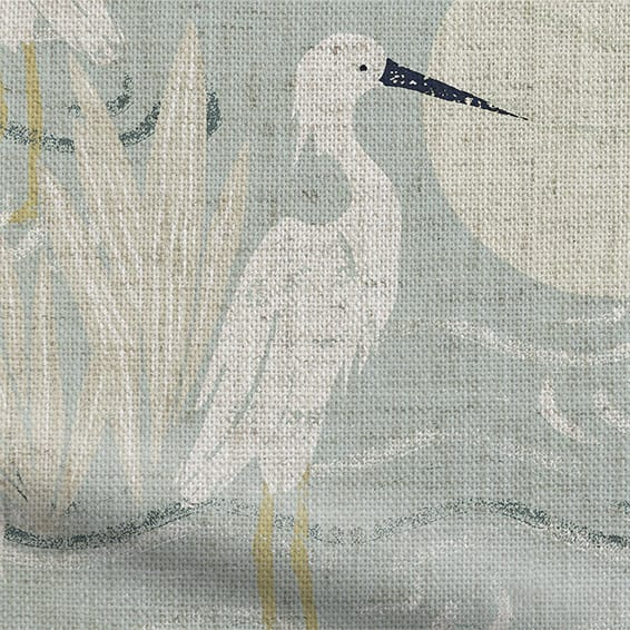 Moonlit Cranes Linen Silver Roman Blind