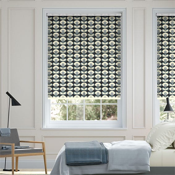 Oval Flower Cool Grey Roller Blind