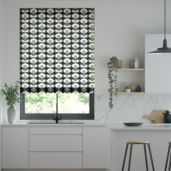 Oval Flower Cool Grey Roman Blind