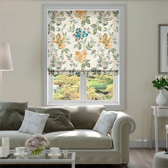 Painterly Floral Lagoon Blue Roman Blind