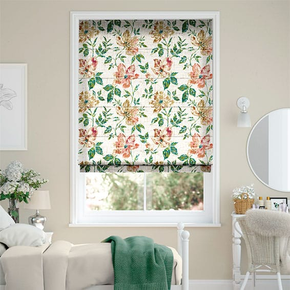 Painterly Floral Vintage Linen Tea Rose Roman Blind