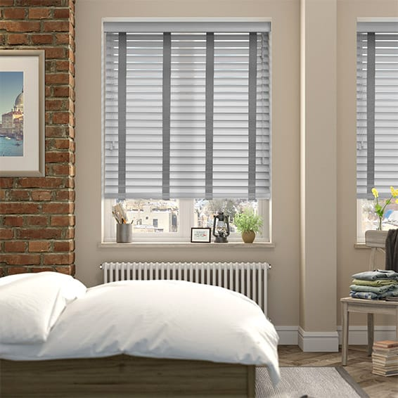 Pearl Grey & Steel Wooden Blind with Tapes - 50mm Slat