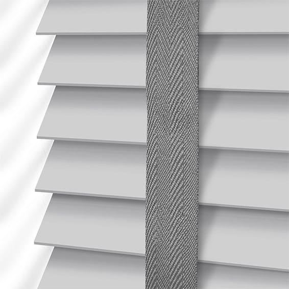 Pearl Grey Amp Steel Wooden Blind With Tapes 50mm Slat