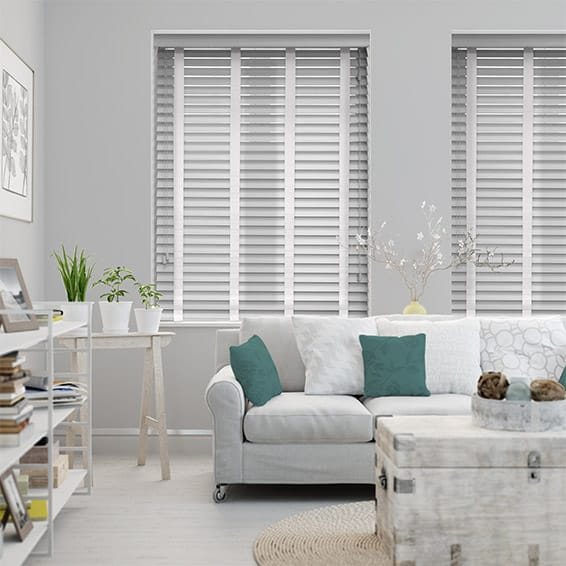 a5d37d9f70fb ... White Wooden Blind with Tapes - 50mm Slat. from £21.35