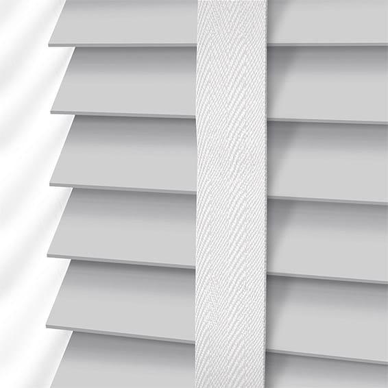 Pearl Grey White Wooden Blind With Tapes 50mm Slat